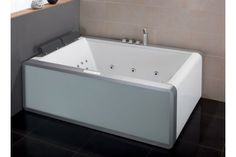 EAGO AM151-1 Double Colorful Light Up Modern Acrylic Whirlpool Bathtub