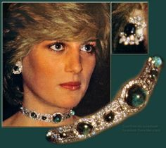 PRINCESS DIANA WEARING HER EMERALD AND DIAMOND CHOKER AND EARRINGS made from the Queen Mary Emeralds which she had made into a Choker. It was a wedding gift from the Queen.