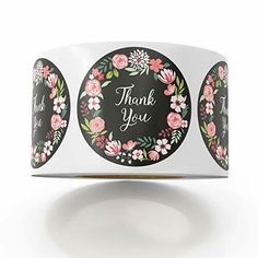 """500 1.5"""" Circle Thank You Stickers Black Floral by LesTroisJ on Etsy Merchandise Bags, Christmas Scrapbook, Thank You Stickers, Scrapbook Stickers, Birthday Party Favors, Sticker Paper, Handmade Crafts, Decor Crafts, Flower Designs"""