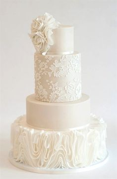 Chic white lace and ruffle texture wedding cake Featured Cake: Heartsweet Cakes; Chic white lace and ruffle texture wedding cake Floral Wedding Cakes, Wedding Cake Rustic, White Wedding Cakes, Elegant Wedding Cakes, Wedding Cake Designs, Wedding Cake Toppers, Wedding Cake With Lace, Textured Wedding Cakes, Cake Wedding