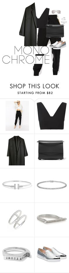 """""""Make It Monochrome"""" by alexsrogers ❤ liked on Polyvore featuring T By Alexander Wang, Topshop, Eddie Borgo, Cartier, Bony Levy, Monica Vinader, Lynn Ban, Miu Miu, Yves Saint Laurent and monochrome"""