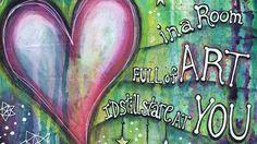 Mixed Media Process Video.  More info at my blog: http://lorislaboratory.com/2016/03/14/room-full-art-painting/   #mixedmedia #art #artjournal #youtube #heart #painting #quote