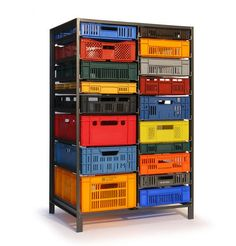Mark van der Gronden's Storage Furniture from Repurposed Industrial Crates - Upcycled form and function. Repurposed plastic industrial containers as drawers. By Lensvelt as posted by