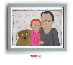 Tante Rö - Textiles Familienportrait nach Fotovorlage