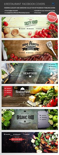 Restaurant Facebook Covers PSD Template • Download ➝ https://graphicriver.net/item/restaurant-facebook-covers/12246214?ref=pxcr