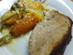 Mustáros-mézes sertéssült tejszínes zöldségekkel Baked Potato, Ale, Pork, Potatoes, Meat, Baking, Ethnic Recipes, Kale Stir Fry, Ale Beer