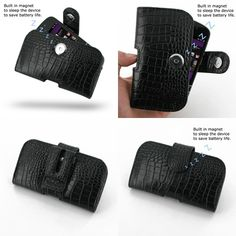 PDair Leather Case for BlackBerry Q10 - Horizontal Pouch Type (Black/Crocodile Pattern)