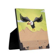 Vulture cartoon flying in the desert