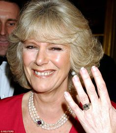 Her engagement ring, which belonged to Charles's grandmother, Queen Elizabeth the Queen Mother