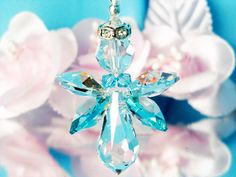 Guardian Angel Car Charm created with Swarovski Teal, Light Turquoise Blue and Aurora Borealis Crystals.