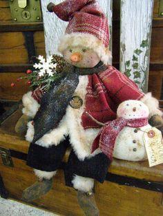 PRIMITIVE SNOWMAN DOLL OLD WOOL SNOW BUDDY FOLK ART SNOWMAN DOLL SNOW BUDDY | eBay