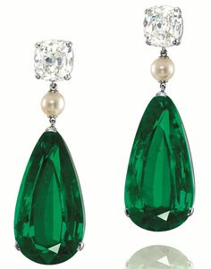 Emerald, Pearl and Diamond Earrings In Platinum