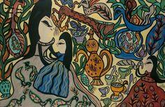 MAHIEDDINE BAYA (1931-1998) Mère et enfants, 1969 Gouache et aquarelle sur papier, signée en bas à droite 99 x 148 cm à vue - 39 x 58 1/4 in. Gouache and watercolor on paper, signed lower right PROVENANCE… - Aguttes - 08/04/2018