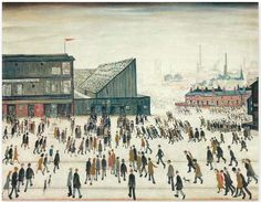 """""""Going to the Match by Laurence Stephen Lowry 1953 ( People going to watch Bolton Wanderers at Burnden Park. Salford, Banksy, Bolton Wanderers, Tate Britain, Spencer, English Artists, Space Gallery, Art Gallery, Art Uk"""