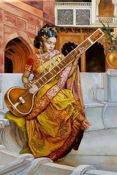 Lady with a sitar, oil painting, realism, lady, India, Sitar, music,   Dominique Amendola Figures Painting and Spiritual Fine Art