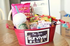Teacher's back to school survival kit!! How adorable?! She says that most items were purchased in the Target dollar aisle.