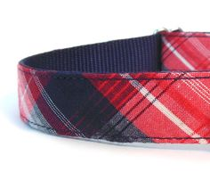 Red White and Blue Plaid dog Collar  by WagglesandCompany on Etsy