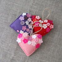Lavender felt hearts, great Mother's day gift - $9.50