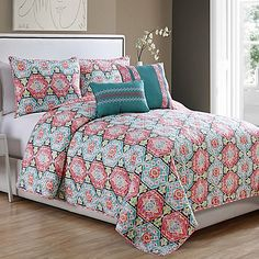 Javea 5-Piece Quilt Set in Coral/Teal