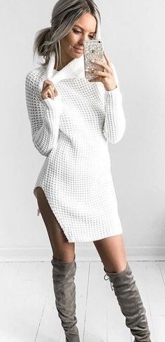 #fall #outfits  women's white crochet sweater dress
