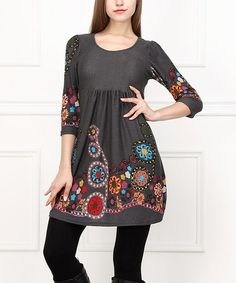 Jess/Miranda -- cute huh!  This Charcoal & Red Floral Empire-Waist Tunic is perfect! #zulilyfinds