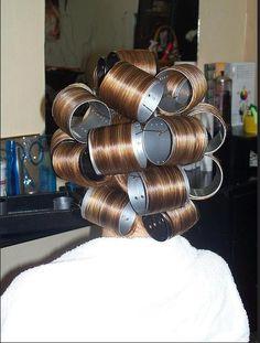 Roller set Sissy Boy getting her perm   Hair Rollers ...