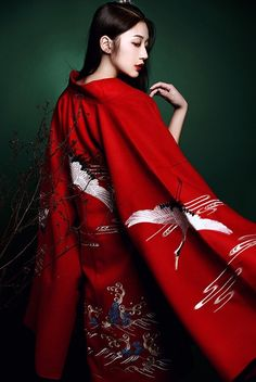 Traditional Chinese Hanfu - Red Pifeng/披风 (Ming Dynasty-style jacket) with embroidered cranes from Qinghuige/清辉阁.