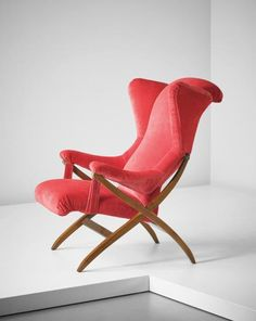 "PHILLIPS : NY050215, Franco Albini Early variant ""Fiorenza"" wingback chair , designed 1952, produced 1950s"