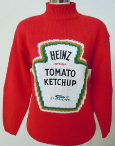 OOAK Women's Vintage Red Heinz 57 Ketchup by AbslewtlyVintage Quirky Fashion, Vintage Fashion, Charity Shop, Pullover, Sweater Shirt, Knitwear, Vintage Ladies, Fashion Outfits, My Style