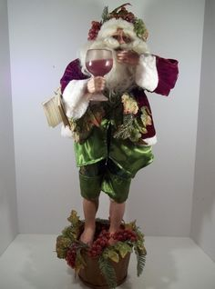 """MARK ROBERTS LIMITED EDITION WINE LOVER SANTA  28"""" TALL - #101/500 -RARE FIND!!"""