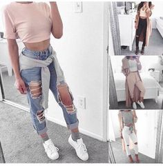 t-shirt pink jeans ripped jeans demin light blue demin pastel pastel pink grey…