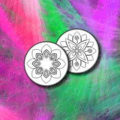 Digital collage sheet flowers 1.5 inch circle fridge magnets glass pendant image printable images round images by StudioDprint