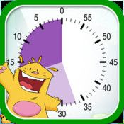 "Buddy's timer - Buddy's ABA Apps ($1.99) can be used with very young children and is perfectly suited for children on the autistic spectrum. It is the ideal tool to help learn the concept of time. The time timer ""materializes"" the time left for an activity at home, in school or during a therapy session.  It helps reduce frustrations from waiting.  Very simple to use.    Settings from 1 to 60 minutes – secure screen mode – piano key chime for audio support."