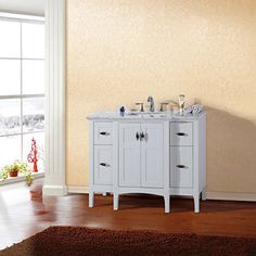 Bellaterra Home 7614-WH Single Sink Vanity Cabinet, 44-Inch, Wood, White Bellaterra Home http://www.amazon.com/dp/B00ME09KVE/ref=cm_sw_r_pi_dp_N.hyvb09VP71W
