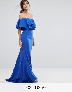 Buy it now. Jarlo Off Shoulder Maxi Dress With Frill Top - Blue. Maxi dress by Jarlo, Smooth woven fabric, Bardot neck, Off-shoulder design, Cropped frill overlay, Zip fastening, Slim fit - cut close to the body, Dry clean, 100% Polyester, Our model wears a UK 8/EU 36/US 4 and is 175cm/5'9 tall, Exclusive to ASOS. Jarlo was created in 2008 by Carly Hallahan and started life on a stall on London's famous Portobello road. An obsession with all things beautiful translated into a collection of…