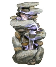 outdoor:  Alpine Indoor/Outdoor Cascading Rock Waterfall Fountain with Light - Fountains at Hayneedle
