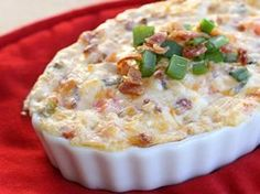 BLT Dip Recipe Perfect For Game Day Or Tailgating Ingredients: 1 pound bacon, cooked 1 cup mayonnaise 1 cup sour cream 8 ounces cream cheese, softened 1 1/2 cups cheddar cheese 1 tomato, seeded and chopped 1/4 cup chopped green onions Additional green onions, cooked bacon, tomato, and lettuce for garnish, if desired Directions: Preheat oven to 350°F degrees.     Mix mayonnaise, sour cream, and cream cheese in a bowl until thoroughly combined. Crumb...