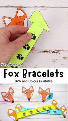 Make adorable Paper Fox Bracelets! This is such a fun and easy fox craft. The printable fox template comes in B/W and 5 colour variations. It's such a cute autumn craft for kids and goes really well with forest animal or nocturnal study themes. #kidscraftroom #kidscrafts #fox #foxcrafts #autumncrafts #fallcrafts #papercrafts #printablecrafts #forestanimals Halloween Crafts For Toddlers, Halloween Crafts For Kids, Paper Crafts For Kids, Christmas Crafts For Kids, Toddler Crafts, Halloween Diy, Fox Crafts, Dinosaur Crafts, Insect Crafts