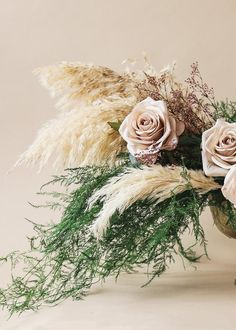 Fern Wedding, Boho Flowers, Winter Wedding Flowers, Bridal Flowers, Flower Bouquet Wedding, Floral Wedding, Flower Bouquets, Neutral Wedding Flowers, Wedding Dried Flowers