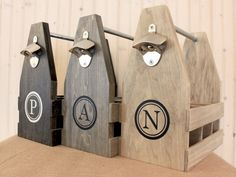 Personalized 6 Pack wood beer carrier, beer caddy, beer tote, bottle carrier, groomsman gift, gift for men by HaverlyHome on Etsy https://www.etsy.com/listing/263369558/personalized-6-pack-wood-beer-carrier