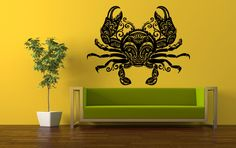Wall Vinyl Sticker Decals Mural Room Design Pattern Art Crab Fish Tentacles Monster Ocean Sea bo752 by RoomDecalsAndDesigns on Etsy