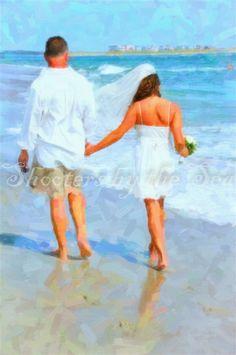 Beach wedding photo artistic