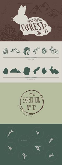 Forest Kit by DesignsByMissM on Creative Market. 6 forest element sketches and silhouettes, 1 logo template, and 7 branch sprigs. Great for outdoor, camping, and hiking brands!