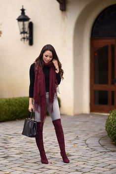 If your outfit is toned down, matching a scarf to the boots can create a good balance. Jessica did so with one of her outfits from a weekend in Carmel. The scarf matches her burgundy boots perfectly. Image Fashion, Look Fashion, Fashion Outfits, Fashion Ideas, Fall Fashion, Net Fashion, Fashion Black, Fashion Beauty, Cochella Outfits