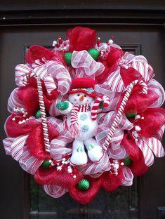 Christmas Deco Mesh Wreath, Christmas Wreaths, Snowman Wreath, Candy Cane Decoration, Holiday Wreath. $169.00, via Etsy.