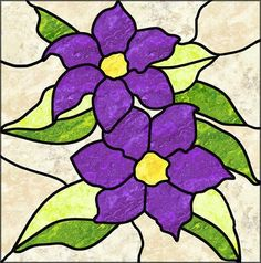 Bring the outdoors in with this beautiful stained glass floral bouquet pattern. You can make the Clematis flowers matching or even make each petal a different color. Have fun designing with this pattern. Stained Glass Quilt, Stained Glass Flowers, Faux Stained Glass, Stained Glass Lamps, Stained Glass Designs, Stained Glass Panels, Stained Glass Projects, Stained Glass Patterns, Mosaic Glass
