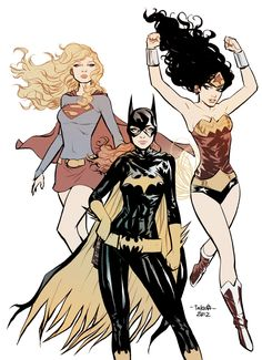 commission - Supergirl Batgirl WonderWoman - color by *marciotakara