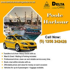 If you're searching to book a taxi to visit Poole Harbour, then give us a call. Delta Cars offers private hire taxi services from & to Poole Harbour. London Airports, River Thames, North Sea, Car Cleaning, Portsmouth, Tilbury, Taxi