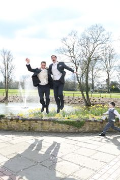 jumping groom and best man at channels golf club wedding