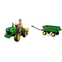 Peg Perego John Deere Ground Force Tractor with Trailer and Green Farm Wagon Bundle - Most Wanted Christmas Toys Lego Rubiks Cube, Toddler Toys, Kids Toys, Peg Perego, Green Farm, Twin Toddlers, Power Wheels, Ride On Toys, Motorcycle Parts And Accessories